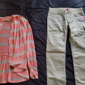 NWT girl size 10 khaki jeggings and open front top